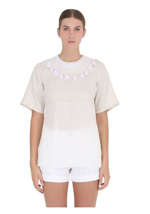 HAND-EMBROIDERED COTTON & LINEN TOP