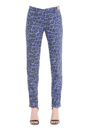 LEOPARD PRINTED COTTON POPLIN PANTS
