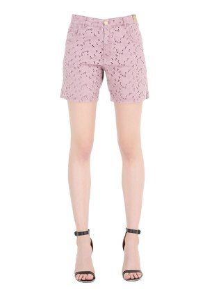 COTTON EYELET DENIM SHORTS