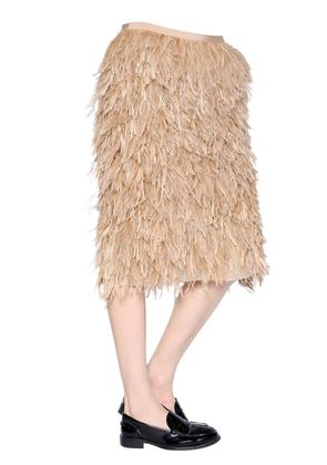 OSTRICH & EMU FEATHERS ON SILK SKIRT