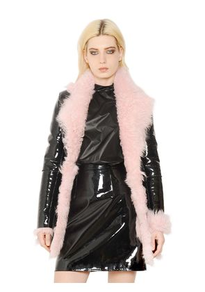 PATENT LEATHER & SHEARLING COAT