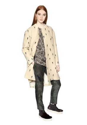 BRUSH STROKE PRINT WOOL OTTOMAN COAT