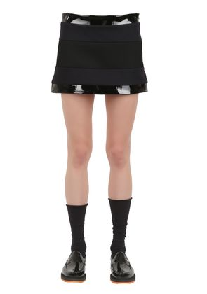 LISA WOOL VINYL AND MESH MINI SKIRT