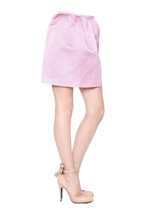 DOUBLE FACE SILK GABARDINE MINI SKIRT