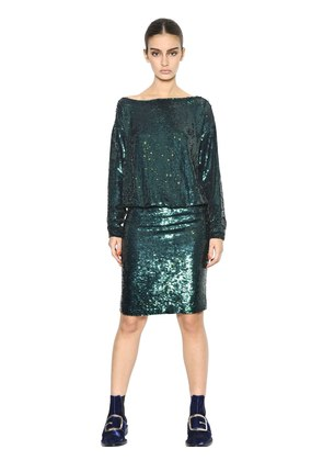 SEQUINED SILK CREPE DRESS