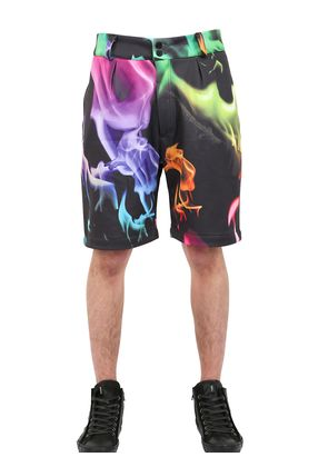 FIRE PRINTED TECHNO CANVAS SHORTS