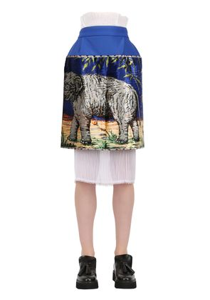 PRINTED NEOPRENE & TECHNO CHIFFON SKIRT