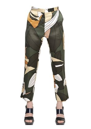 PRINTED COTTON BLEND OTTOMAN TROUSERS
