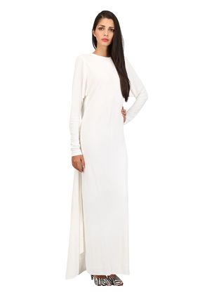 JERSEY SABLÉ LONG DRESS WITH CAPE