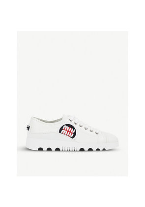 Logo-patch leather platform trainers