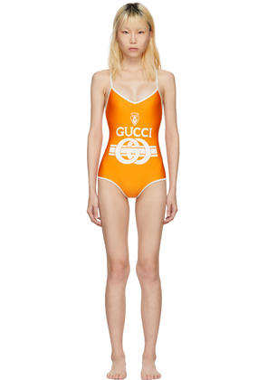 Gucci Orange and Off-white Logo Crest Swimsuit