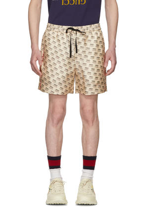 Gucci Ivory All Over Logo Stamp Shorts