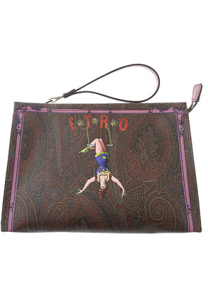 Etro Makeup Bag Cosmetic Case for Women, Kaki, Leather, 2017