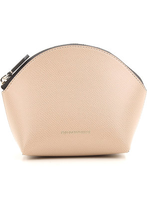 Emporio Armani Makeup Bag Cosmetic Case for Women, Beige, Leather, 2017