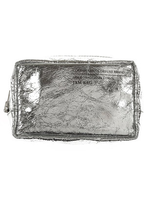 Golden Goose Makeup Bag Cosmetic Case for Women, Silver, Leather, 2017
