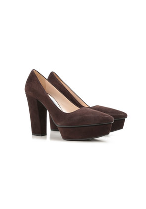 Prada Wedges for Women On Sale in Outlet, Dark Brown, Suede leather, 2017, 6.5 7