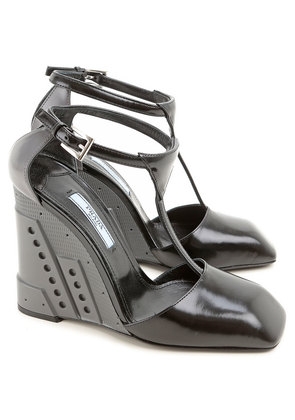 Prada Wedges for Women On Sale in Outlet, Black, Leather, 2017, 3 5 5.5