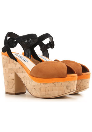 Prada Wedges for Women On Sale in Outlet, Tobacco, suede, 2017, 3.5 6 6.5
