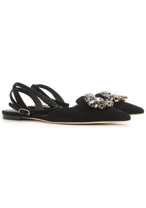 Dolce & Gabbana Ballet Flats Ballerina Shoes for Women On Sale in Outlet, Black, suede, 2017, 3 3.5