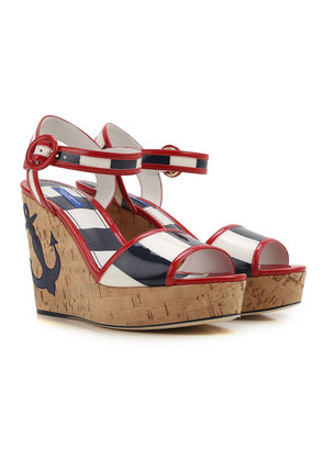 Dolce & Gabbana Wedges for Women On Sale in Outlet, Red, Patent, 2017, 2.5 3.5 4 4.5 5.5 6
