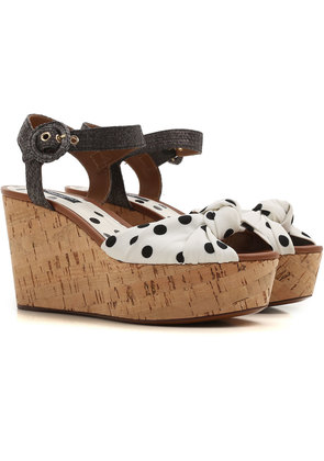 Dolce & Gabbana Wedges for Women On Sale in Outlet, White, Fabric, 2017, 3.5 4 4.5 5.5 6 7.5