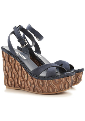 Miu Miu Wedges for Women On Sale in Outlet, Dark Navy Blue, Suede leather, 2017, 5.5 6.5