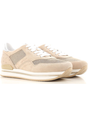 Sneakers for Women, Golden beige, suede, 2017, 3 3.5 4 4.5 5.5 6 Hogan