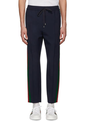 Gucci Blue Wool Tricolor Trousers