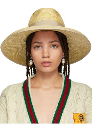 Gucci Beige Straw Wide-brim Hat