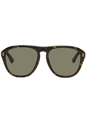 Gucci Tortoiseshell Opulent Luxury Web Aviator Sunglasses