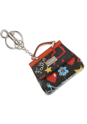 Dolce & Gabbana Key Chain for Women, Key Ring On Sale, Black, Leather, 2017