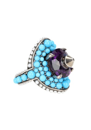 Crystal and bead-embellished ring