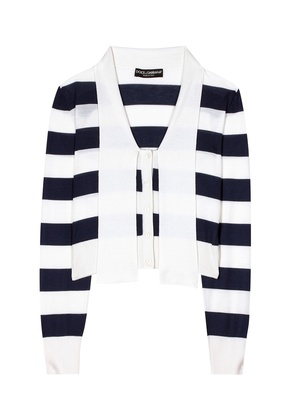 Striped cashmere and silk cardigan