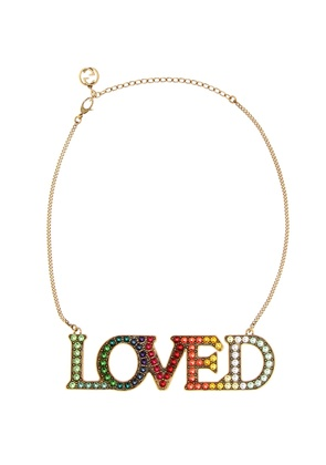 Loved embellished necklace