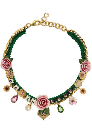Dolce and Gabbana Green dg Is Love Necklace