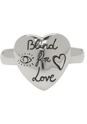 Gucci Silver blind For Love Heart Ring