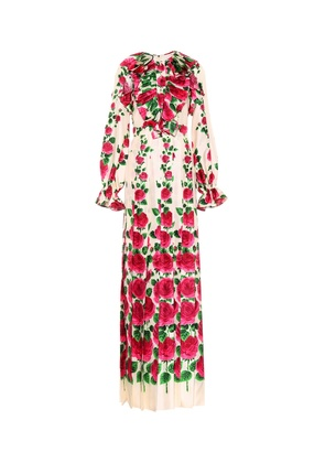 Floral-printed silk twill dress