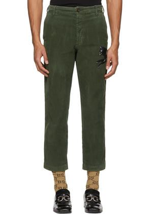 Gucci Green Corduroy Wolf Trousers