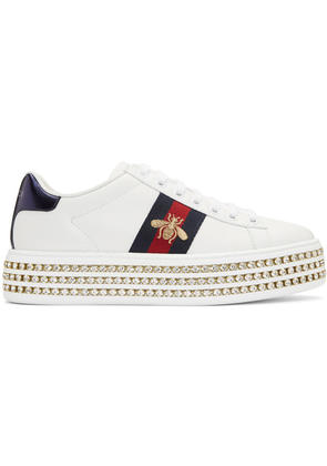 Gucci White Crystal New Ace Platform Sneakers