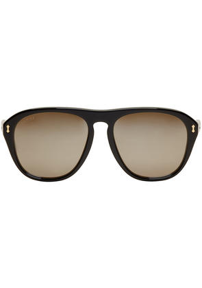 Gucci Black Opulent Luxury Aviator Sunglasses