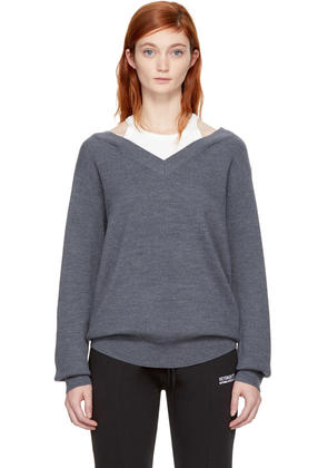 T By Alexander Wang Grey and Off-white Bi-layer Off-the-shoulder Pullover
