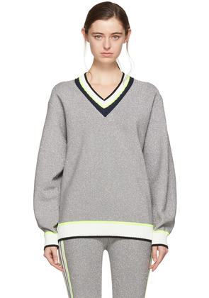 Opening Ceremony Silver Disco Sport Cable Neck Sweater