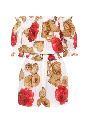 Printed cotton poplin playsuit