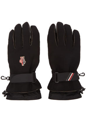 Moncler Grenoble Black Canvas and Lambskin Gloves