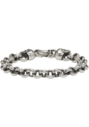 Ugo Cacciatori Silver Jail Chain and Skulls Bracelet