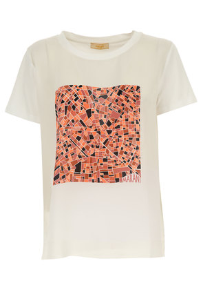 T-Shirt for Women On Sale, Silver, Cotton, 2017, 10 12 14 Angelo Marani