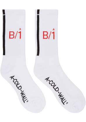 A-cold-wall* White and Red Logo Socks