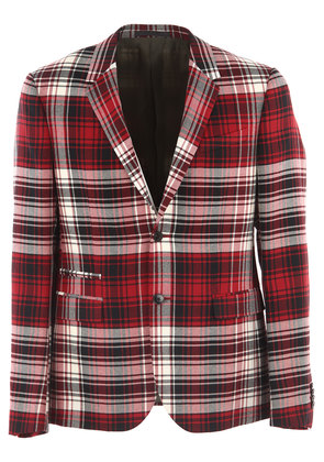 Valentino Blazer for Men, Sport Coat On Sale in Outlet, Red Check, Virgin wool, 2017, L M
