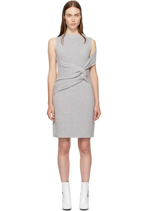 3.1 Phillip Lim Grey Draped Ribbed Twist Dress