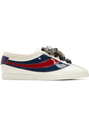 Gucci Off-white Patent Sylvie Web Falacer Sneakers
